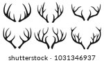 deer antlers black icons set on ... | Shutterstock .eps vector #1031346937