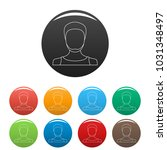 man avatar icons color set...