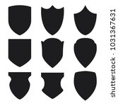 black shield icons set on white ... | Shutterstock .eps vector #1031367631