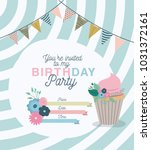happy birthday party invitation ... | Shutterstock .eps vector #1031372161