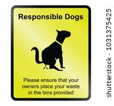 yellow responsible dog waste... | Shutterstock .eps vector #1031375425