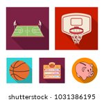 basketball and attributes flat... | Shutterstock .eps vector #1031386195