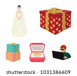 a box with a gift for a wedding ... | Shutterstock .eps vector #1031386609