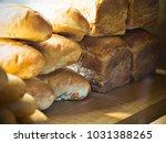 homemade style baguette  breads ...   Shutterstock . vector #1031388265