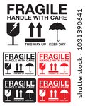 fragile handle with care... | Shutterstock .eps vector #1031390641