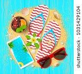 summer time beautiful card. top ... | Shutterstock .eps vector #1031429104