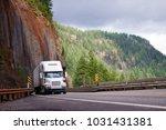 big rig semi truck with... | Shutterstock . vector #1031431381