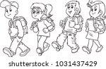 group of pupils walking school | Shutterstock .eps vector #1031437429