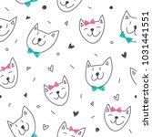 smile cats faces pattern ... | Shutterstock .eps vector #1031441551