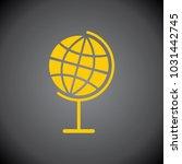 yellow globe icon on black... | Shutterstock .eps vector #1031442745