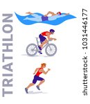triathlon vector set. | Shutterstock .eps vector #1031446177