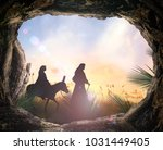 palm sunday concept  tomb stone ... | Shutterstock . vector #1031449405