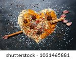 heart shape made from spices... | Shutterstock . vector #1031465881