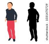 silhouette boy jumping | Shutterstock . vector #1031470729