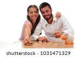 beautiful couple saving money...   Shutterstock . vector #1031471329