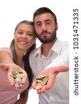 beautiful couple saving money...   Shutterstock . vector #1031471335