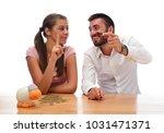 beautiful couple saving money...   Shutterstock . vector #1031471371