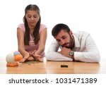 beautiful couple saving money...   Shutterstock . vector #1031471389