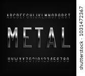 metal effect alphabet font.... | Shutterstock .eps vector #1031472367