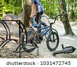 bmx bike parked a ramp in the... | Shutterstock . vector #1031472745