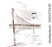 beach volleyball landscape...   Shutterstock .eps vector #1031473129