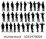 set of standing man silhouette... | Shutterstock .eps vector #1031478004