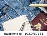 overhead view of traveler's... | Shutterstock . vector #1031487181