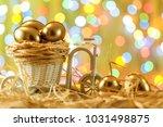 easter card. golden eggs in a... | Shutterstock . vector #1031498875