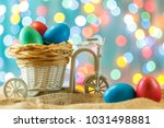 easter card  colored eggs in... | Shutterstock . vector #1031498881