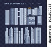 City downtown landscape with high skyscrapers isolated abstract pixel art vector illustrations big city business center. Panorama architecture. 8-bit. Design for stickers, logo, embroidery, mobile app | Shutterstock vector #1031517265