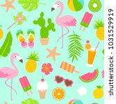 colorful summer elements... | Shutterstock .eps vector #1031529919