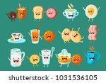 funny breakfast food comic... | Shutterstock .eps vector #1031536105