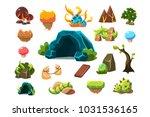 fabulous cave  trees  plants ...   Shutterstock .eps vector #1031536165