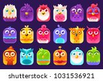 cute colorful birds sett with... | Shutterstock .eps vector #1031536921