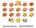 pizza sett  popular varieties...   Shutterstock .eps vector #1031536969