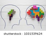 Stock photo genetic brain disorder health and illness mental health and mental disorder concept heads with 1031539624