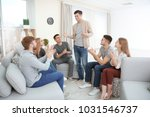 young man talking about his... | Shutterstock . vector #1031546737