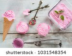top view pink ice cream waffle... | Shutterstock . vector #1031548354