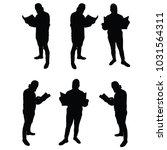 man reading newspaper  vector ... | Shutterstock .eps vector #1031564311