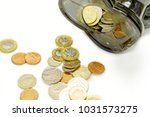 top view of british currency... | Shutterstock . vector #1031573275