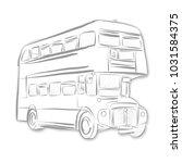 london bus black and white... | Shutterstock .eps vector #1031584375