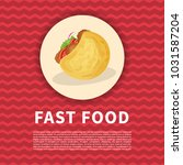 falafel in pita poster. cute...   Shutterstock .eps vector #1031587204