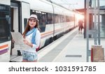 traveler girl with map  hat and ... | Shutterstock . vector #1031591785