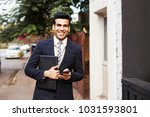 handsome indian man in business ... | Shutterstock . vector #1031593801