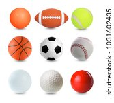 set of sports balls on white... | Shutterstock . vector #1031602435