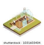 greenhouse cable supported... | Shutterstock .eps vector #1031603404