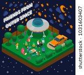 people having picnic with alien ... | Shutterstock .eps vector #1031603407