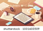 pleasure of reading isometric... | Shutterstock .eps vector #1031603509