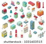set of isometric factory... | Shutterstock .eps vector #1031603515