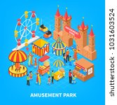 amusement park cartoon... | Shutterstock .eps vector #1031603524